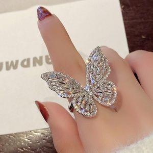 18k White Gold Diamond Butterfly Statement Ring